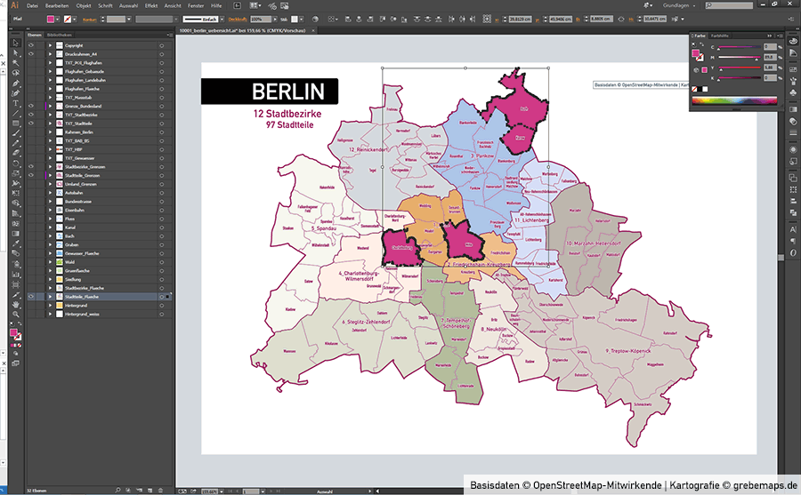 Berlin Stadtplan Vektor Stadtbezirke Stadtteile Topographie, Karte Berlin Stadtteile, Landkarte Berlin, Vektorkarte Berlin, Karte Stadtbezirke Berlin, Basiskarte Berlin Übersicht