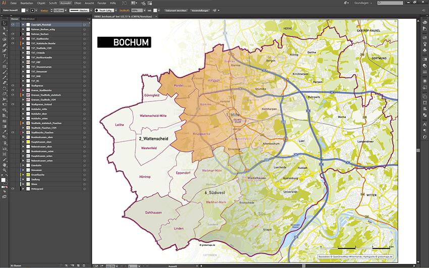 Bochum Stadtplan Stadtbezirke Stadtteile Topographie Vektorkarte, Vektor Karte Bochum, Karte Bochum Stadtteile, Basiskarte, Übersichtskarte