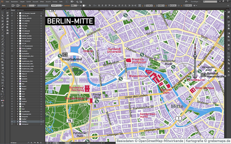 berlin mitte stadtplan vektorkarte grebemaps kartographie. Black Bedroom Furniture Sets. Home Design Ideas