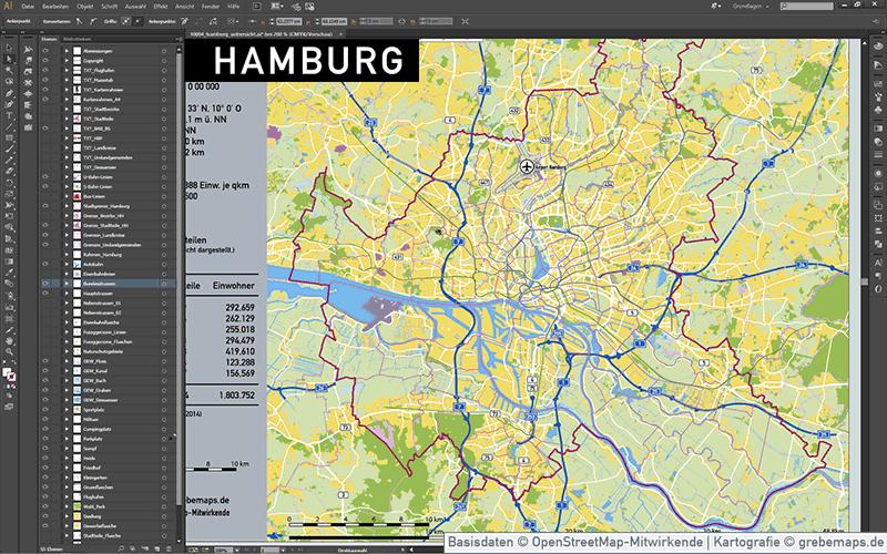 Hamburg Stadtplan Vektor Stadtbezirke Stadtteile Topographie, Vektorkarte Hamburg, Stadtplan Hamburg, Karte Hamburg Vektor