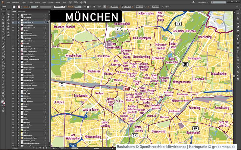 München Stadtplan Vektor Stadtbezirke Stadtteile Topographie, Karte Stadtplan München, Vektorkarte München