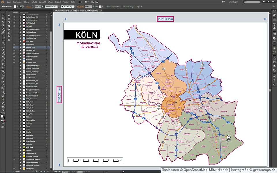 Köln Stadtplan Vektor Stadtbezirke Stadtteile Topographie, Vektorkarte Köln, Landkarte Köln, Karte Köln, Übersichtskarte Köln