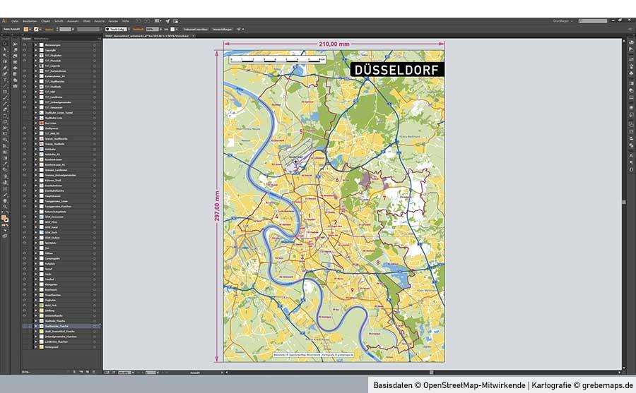 Düsseldorf Stadtplan Vektor Stadtbezirke Stadtteile Topographie, Vektorkarte Düsseldorf, Karte Düsseldorf, Vektorgrafik Düsseldorf, Stadtplan Düsseldorf