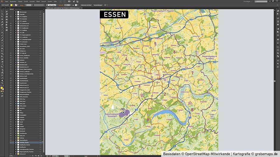 Essen Stadtplan Vektor Stadtbezirke Stadtteile Topographie, Vektorkarte Stadt Essen, Stadtkarte Essen, Karte Essen, Karte Essen Stadtteile, Vektor Karte Essen Stadtteile