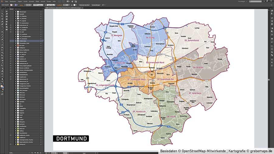 Dortmund Stadtplan Vektor Stadtbezirke Topographie, Vektorkarte Dortmund, Karte Stadt Dortmund, Karte Vektor Dortmund Stadtbezirke Und Stadtteilnamen