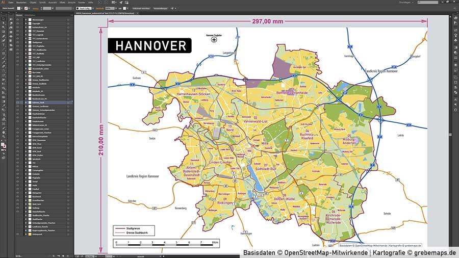 Hannover Stadtplan Vektor Stadtbezirke Topographie, Karte Hannover, Vektor Karte Hannover, Stadtplan Hannover, Karte Hannover Stadtbezirke, Karte Stadt Hannover