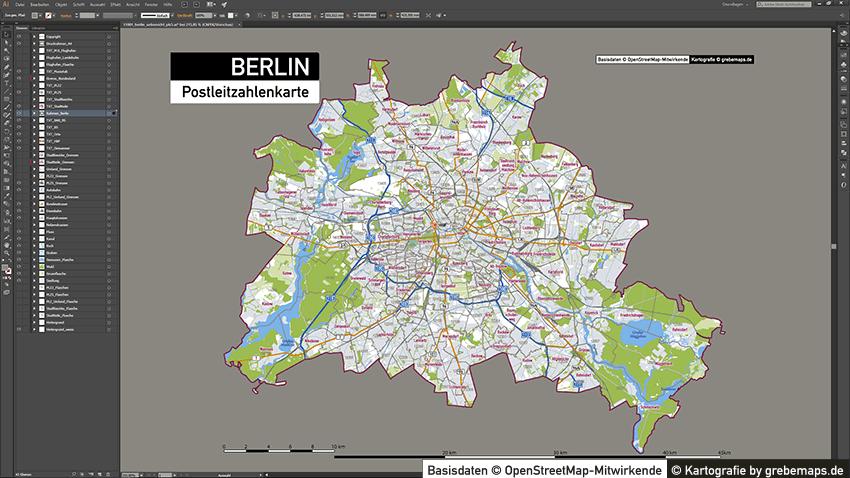 Berlin Stadtplan Postleitzahlen PLZ-5 Topographie Stadtbezirke Stadtteile, Postleitzahlenkarte Berlin, PLZ Karte Berlin, Vektor Karte Berlin PLZ-5