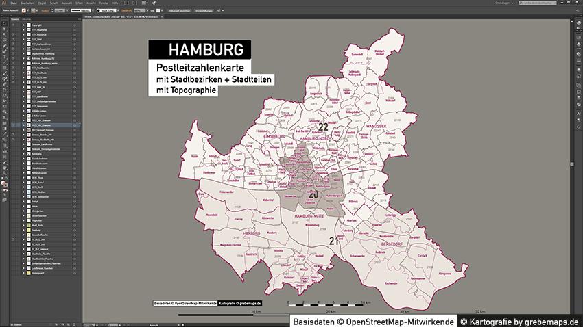 Hamburg Stadtplan Postleitzahlen PLZ-5 Topographie Stadtbezirke Stadtteile Vektorkarte, Karte Hamburg Postleitzahlen, PLZ-Vektor-Karte Hamburg, Karte Vektor Hamburg PLZ