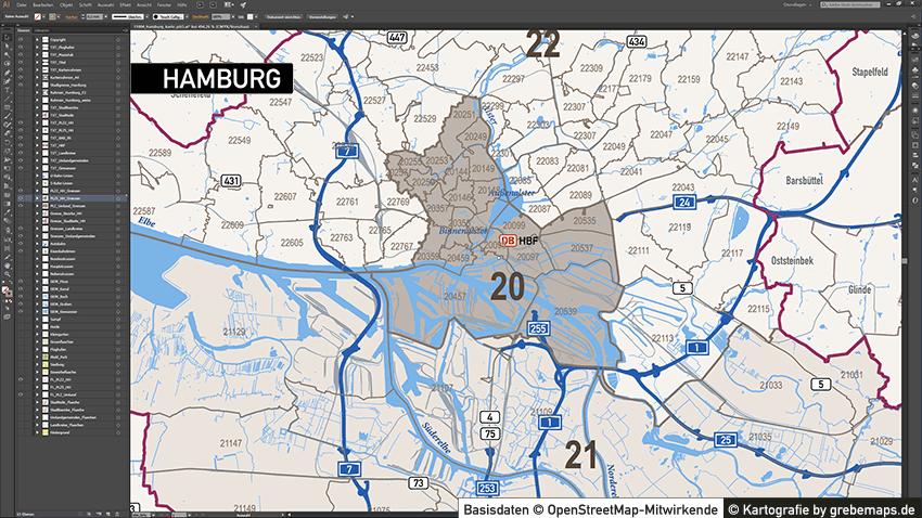 Hamburg Stadtplan Postleitzahlen PLZ-5 Topographie Stadtbezirke Stadtteile, Karte Hamburg Postleitzahlen, PLZ-Vektor-Karte Hamburg, Karte Vektor Hamburg PLZ