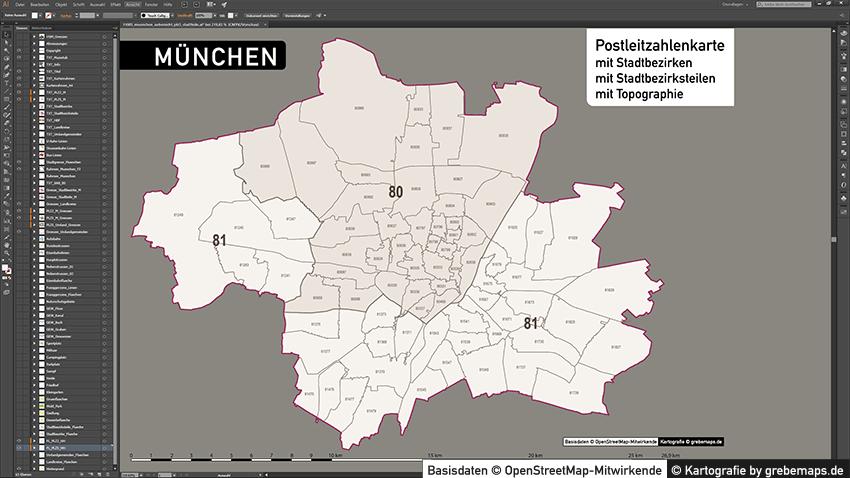 München Stadtplan Karte Postleitzahlen Topographie Stadtbezirke Stadtteile, Karte München Postleitzahlen, Karte München Stadtteile Und Stadtbezirke, Vektorkarte München, PLZ-Karte, Karte PLZ-5 München