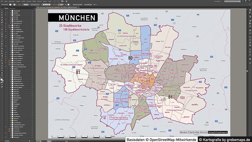 München Stadtplan Karte Postleitzahlen Topographie Stadtbezirke Stadtteile, Karte München Postleitzahlen, Karte München Stadtteile Und Stadtbezirke, Vektorkarte München