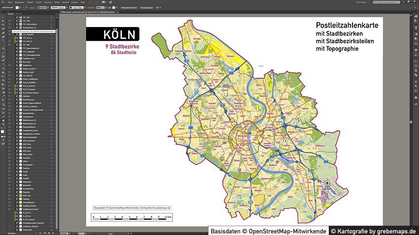 Köln Stadtplan Postleitzahlen PLZ-5 Topographie Stadtbezirke Stadtteile Vektorkarte, Postleitzahlenkarte Köln, PLZ Vektor Karte Köln, Karte Köln PLZ-5 5-stellig