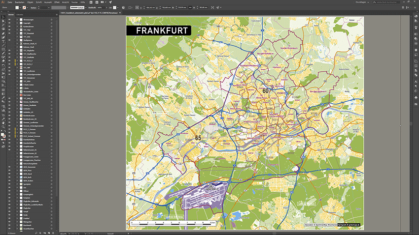 Frankfurt Stadtplan Postleitzahlen PLZ-5 Topographie Stadtbezirke Stadtteile Vektorkarte, Karte PLZ Frankfurt Am Main, Postleitzahlenkarte Frankfurt Am Main, PLZ-Karte Vektor Frankfurt Am Main