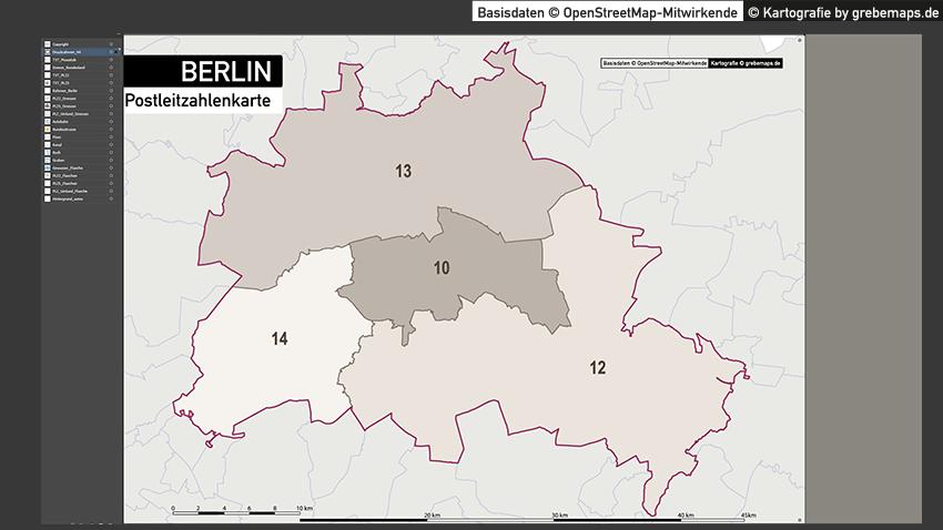 Berlin Karte Postleitzahlen PLZ-5 Vektorkarte, Postleitzahlenkarte Berlin 5-stellig, PLZ-Karte Berlin, Karte PLZ Berlin, Vektorgrafik PLZ Berlin
