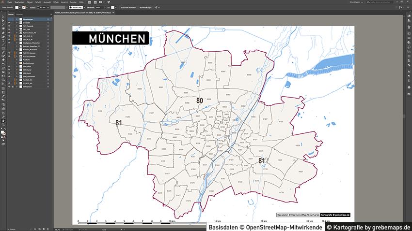 München Postleitzahlenkarte Vektor PLZ-5, PLZ-Karte München, Vektorkarte München PLZ