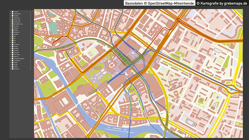 Karte Berlin, Stadtplan Berlin-Zentrum, Basiskarte Berlin-Zentrum, Vektorkarte Berlin-Zentrum, Karte Berlin-Zentrum Vektor, Berlin-Zentrum Stadtplan Vektor mit Gebäuden Basiskarte