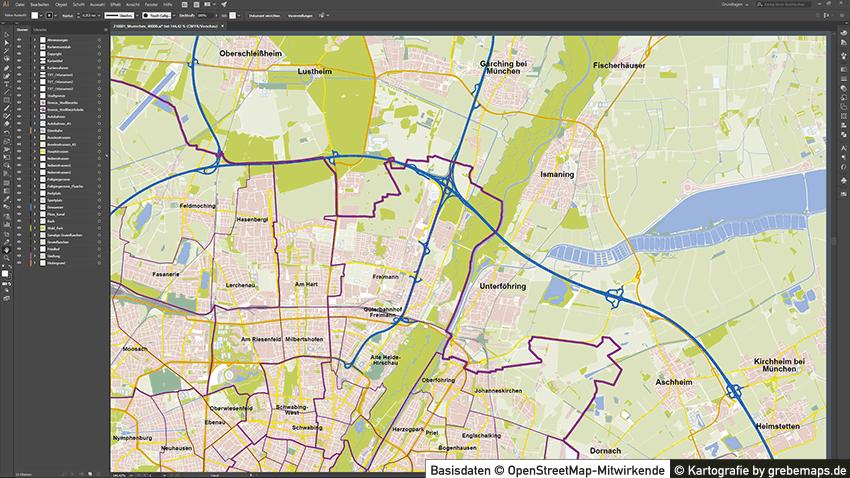 München Stadtplan Vektor Mit Gebäuden, Karte München, Vektorkarte München Mit Gebäuden, Karte München Mit Bezirken Und Stadtteilen