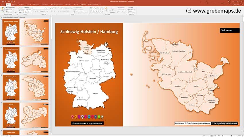 Landkreise Schleswig-Holtstein, Deutschland PowerPoint-Karte Landkreise Bundesländer, PowerPoint-Karte Landkreise Deutschland