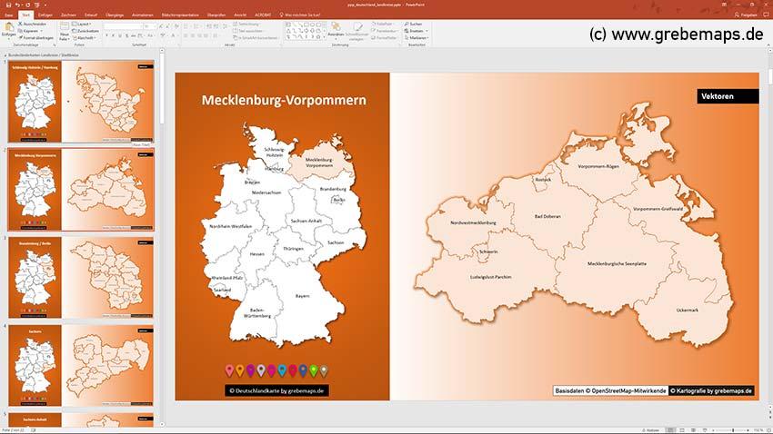 Landkreise Mecklenburg-Vorpommern, Deutschland PowerPoint-Karte Landkreise Bundesländer, PowerPoint-Karte Landkreise Deutschland