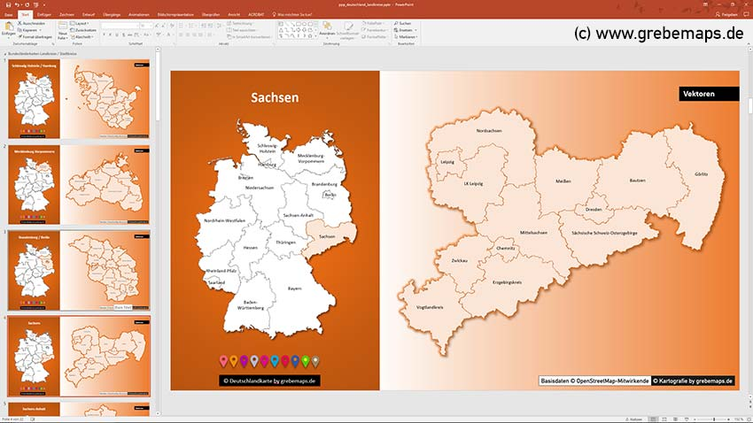 Deutschland PowerPoint-Karte Landkreise Bundesländer, PowerPoint-Karte Landkreise Deutschland