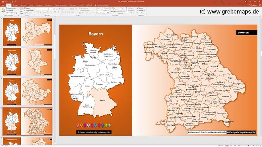 Landkreise Bayern, Deutschland PowerPoint-Karte Landkreise Bundesländer, PowerPoint-Karte Landkreise Deutschland
