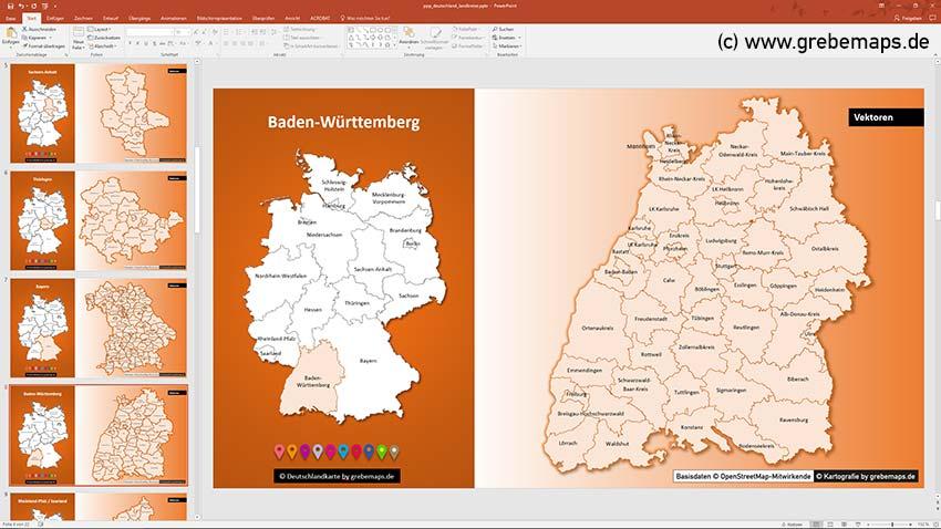 Landkreise Baden-Württemberg, Deutschland PowerPoint-Karte Landkreise Bundesländer, PowerPoint-Karte Landkreise Deutschland
