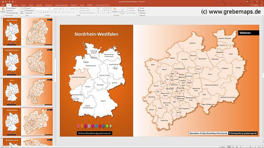 Landkreise Nordrhein-Westfalen, Deutschland PowerPoint-Karte Landkreise Bundesländer, PowerPoint-Karte Landkreise Deutschland