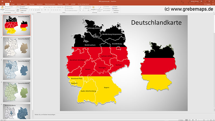 Deutschland PowerPoint-Karte Bundesländer, Bundesländer Karte Deutschland PowerPoint