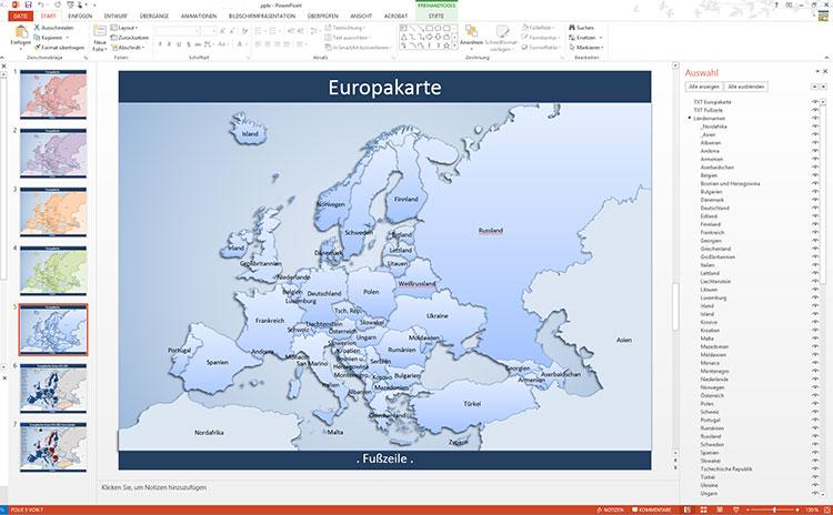Europa PowerPoint-Karte EU-28, Karte Europa EU-28 PowerPoint, Europa-Karte EU-28 PowerPoint