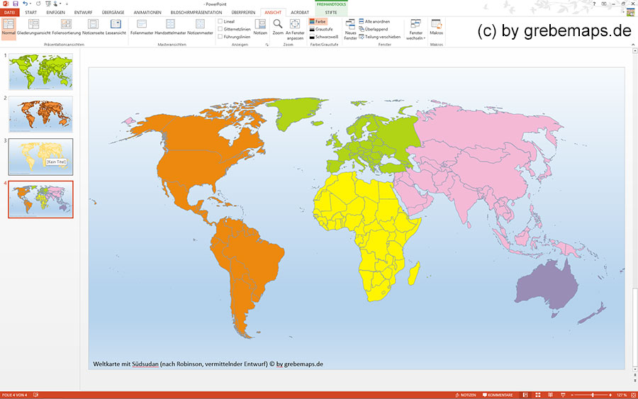 Welt PowerPoint-Karte Weltkarten, Gall, Mollweide, Eckart IV, Robinson