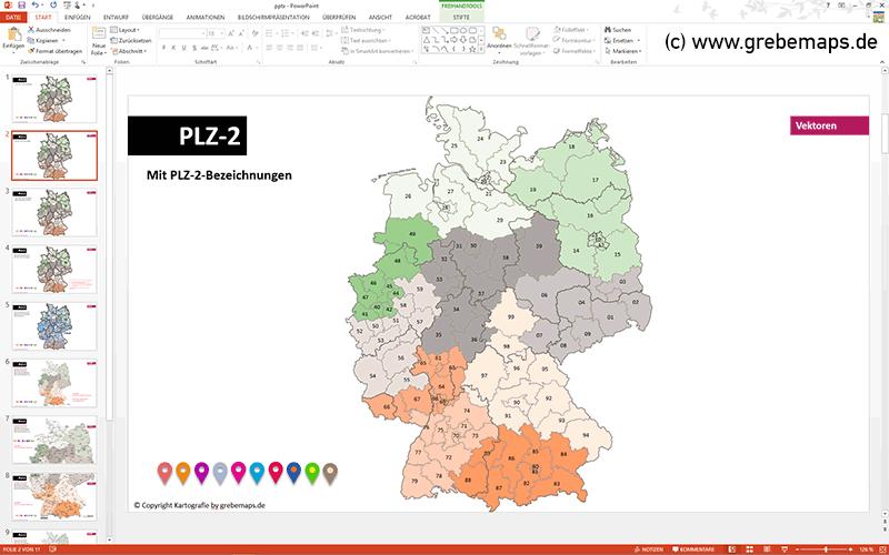 Deutschland PowerPoint-Karte Postleitzahlen PLZ-2, Deutschlandkarte Postleitzahlen PLZ-2, Postleitzahlenkarte Deutschland 2-stellig
