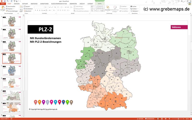 Plz Karte Deutschland Kostenlos Download.Powerpoint Karte Deutschland Postleitzahlen Plz 2 Bundesländer Ortsnamen Mit Bitmap Karten