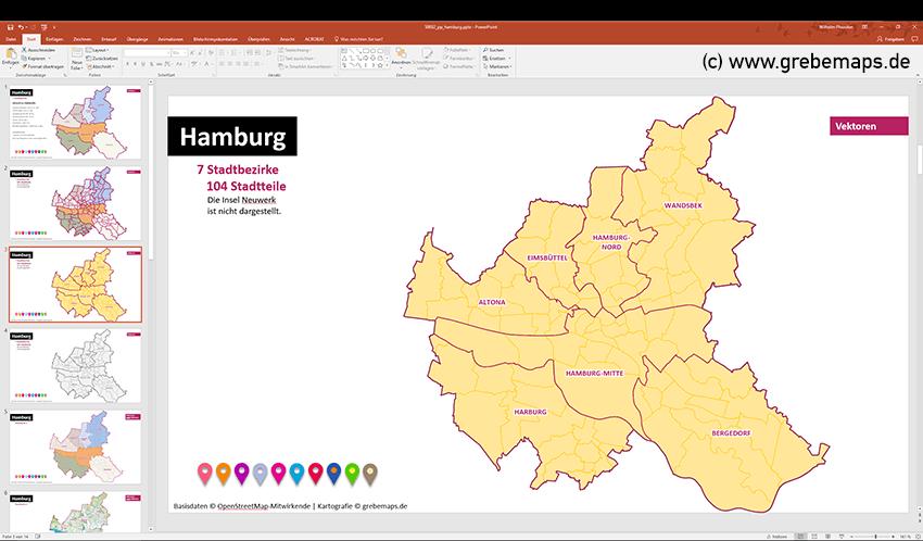 Hamburg PowerPoint-Karte Mit Bezirken Und Stadtteilen, Karte Hamburg PowerPoint