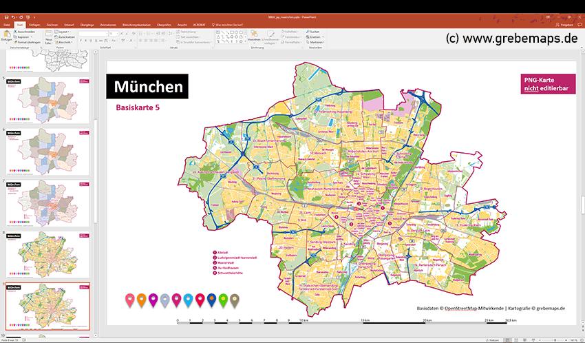 München PowerPoint-Karte Stadtbezirke Und Stadtteile, Stadtplan München, Topographische Basiskarten, Karte PowerPoint München