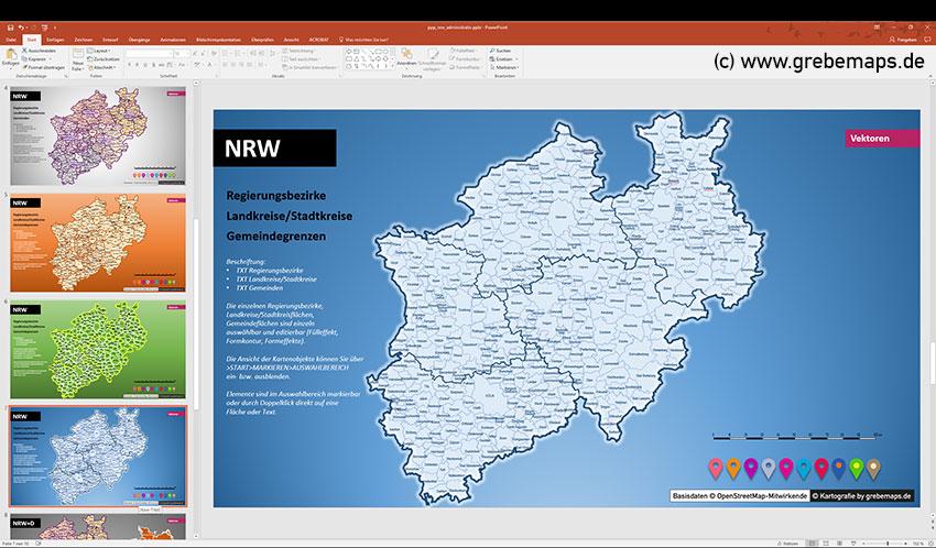 NRW PowerPoint-Karte Gemeinden Landkreise Regierungsbezirke, Nordrhein-Westfalen PowerPoint-Karte Mit Gemeinden, Mit Deutschland-Karte Mit Bundesländern