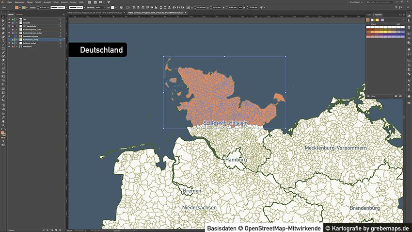 Deutschland Gemeinden Bundesländer Vektorkarte, Gemeindekarte Deutschland Vektor, Karte Gemeinden Deutschland, Karte Deutschland Vektor Gemeinden für Illustrator