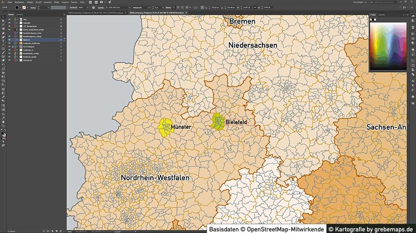 Deutschland Postleitzahlen PLZ-5 Vektorkarte 5-stellig, Postleitzahlen Karte Deutschland Vektor, Karte Postleitzahlen Deutschland