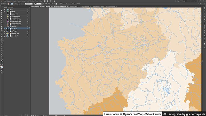 Deutschland Vektorkarte Autobahnen Städte Gewässer Bundesländer, Vektor-Karte Deutschland Autobahnen, Deutschlandkarte Bundesländer Vektor