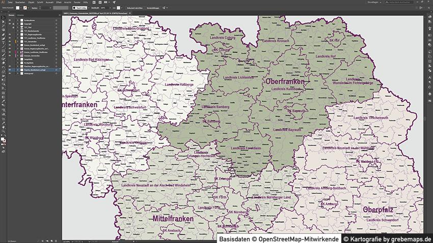 Bayern Vektorkarte Gemeinden Landkreise Regierungsbezirke, Karte Gemeinden und Landkreise Bayern Vektor, Landkarte Bayern Landkreise, Vektor Karte Bayern, Landkarte Bayern Gemeinden, Vektorgrafik Bayern, Kartengrafik Bayern