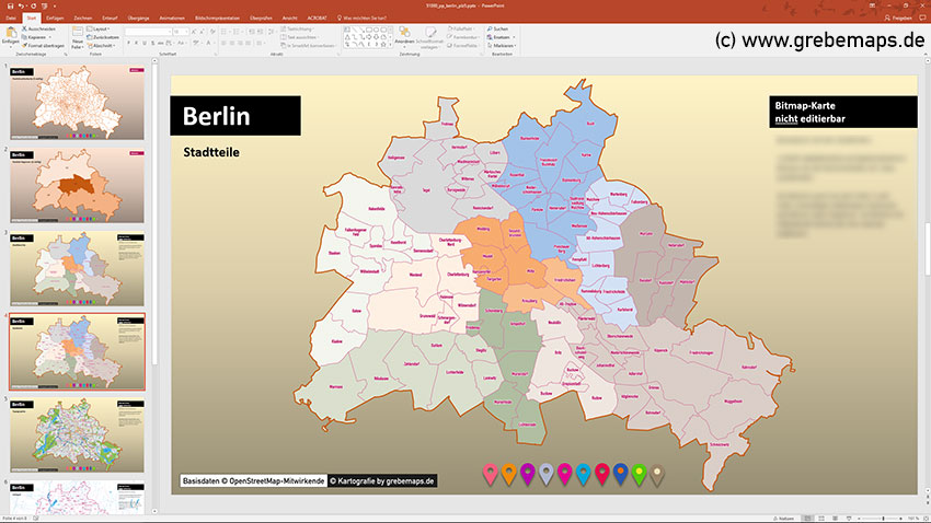 Berlin PowerPoint-Karte Postleitzahlen PLZ-5, PowerPoint Karte Berlin PLZ, Postleitzahlenkarte Berlin PowerPoint