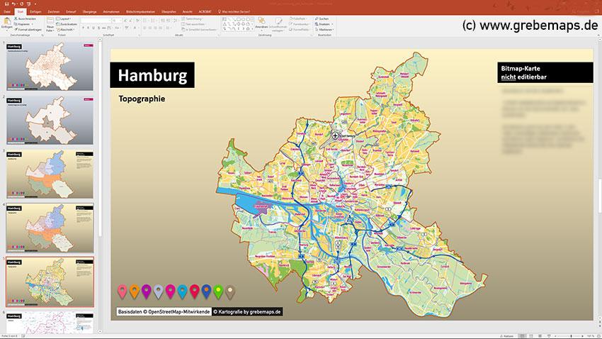 Hamburg PowerPoint-Karte Postleitzahlen PLZ-5 (5-stellig), Postleitzahlenkarte Hamburg PLZ-5 PowerPoint, PLZ-Karte Hamburg PowerPoint