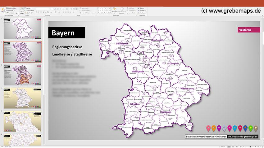 Bayern PowerPoint-Karte Landkreise Gemeinden Regierungsbezirke, PowerPoint Karte Bayern Landkreise Und Gemeinden Mit Regierungsbezirken, Mit Schönen Bitmap-Gemeindenkarten