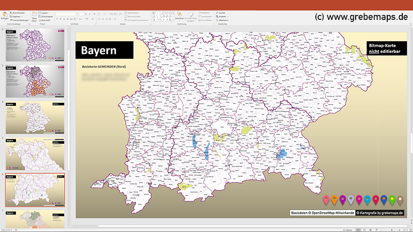 Bayern PowerPoint-Karte Landkreise Regierungsbezirke (Gemeinden als Bitmap-Karte), Karte Bayern Landkreise, Karte Bayern Regierungsbezirke, Karte Bayern Gemeinden