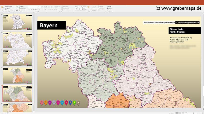 PowerPoint Karte Bayern Landkreise Und Gemeinden Mit Regierungsbezirken, Mit Schönen Bitmap-Gemeindenkarten