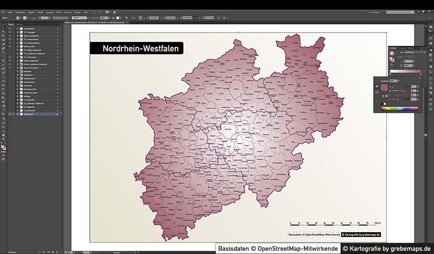 Nordrhein-Westfalen Vektorkarte NRW Landkreise Regierungsbezirke Gemeinden, Karte NRW Landkreise, Karte NRW Gemeinden, Gemeindekarte NRW, Vektorkarte Gemeinden NRW, NRW Administrativ Karte