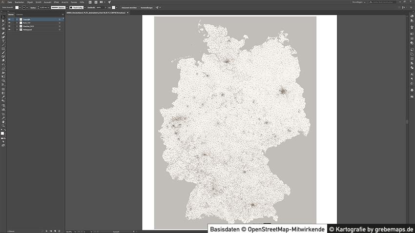 Deutschland Postleitzahlen PLZ-5 Vektorkarte Abstrahiert, Postleitzahlenkarte Deutschland, Karte Postleitzahlen Deutschland, Karte Deutschland PLZ-5 5-stellig