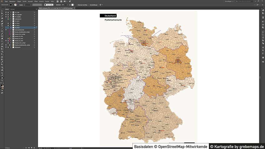 Deutschland Postleitzahlen PLZ-1-2-3-5 Vektorkarte 5-stellig, PLZ-5 Karte Deutschland, Postleitzahlenkarte Deutschland 5-stellig, PLZ Karte Deutschland 3-stellig, 2-stellig, Karte PLZ Vektor Deutschland