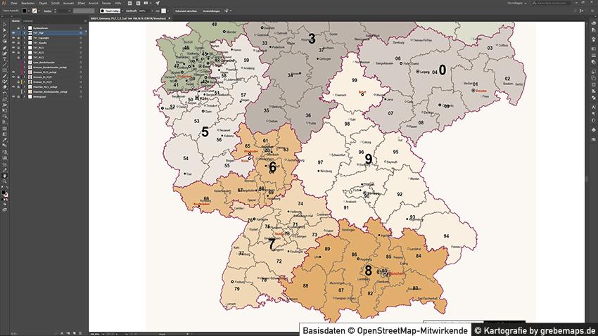 Deutschland Postleitzahlenkarte PLZ-1-2-3 Vektorkarte 3-stellig, Karte Postleitzahlen Deutschland 3-stellig, Karte PLZ-3 Deutschland, Vektor Karte PLZ Deutschland 3-stellig