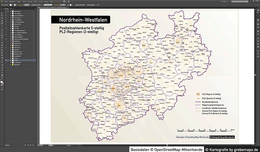 Nordrhein-Westfalen Postleitzahlenkarte 5-stellig PLZ-5 Vektorkarte, Karte NRW PLZ-5, Karte Postleitzahlen NRW, NRW Vektorkarte PLZ-5, Karte NRW PLZ 5-stellig, AI-Datei Karte NRW