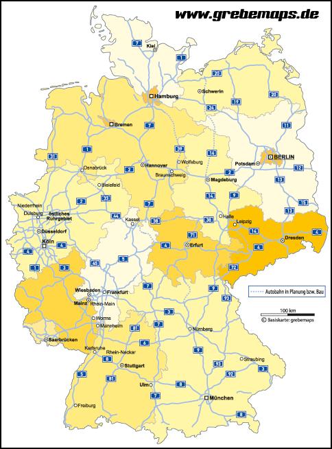 karte bundesländer mit autobahnen Deutschland Bundesländer Autobahnen Vektorkarte   grebemaps